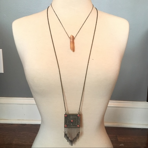 Urban Outfitters Aztec arrow fringe necklace